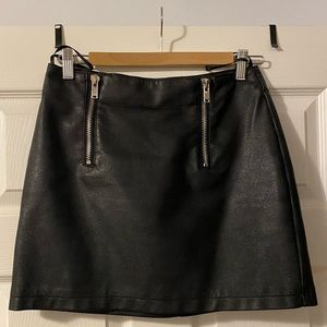 Black Faux Leather Skirt w/ Zippers!